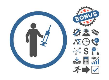 drug dealer: Drug Dealer icon with bonus design elements. Vector illustration style is flat iconic bicolor symbols, cobalt and gray colors, white background.