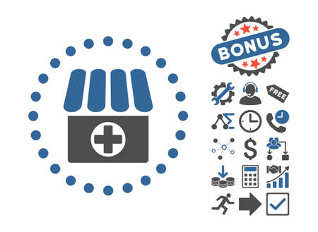 Drugstore pictograph with bonus design elements. Vector illustration style is flat iconic bicolor symbols, cobalt and gray colors, white background. Illustration