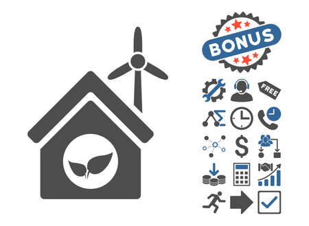 Eco House Building pictograph with bonus pictures. Vector illustration style is flat iconic bicolor symbols, cobalt and gray colors, white background.