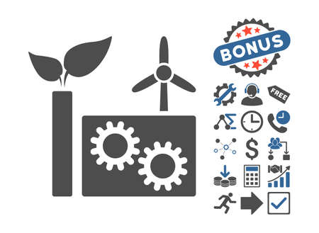 cobalt: Eco Plant icon with bonus pictures. Vector illustration style is flat iconic bicolor symbols, cobalt and gray colors, white background. Illustration