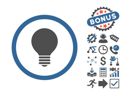 electric bulb: Electric Bulb pictograph with bonus icon set. Vector illustration style is flat iconic bicolor symbols, cobalt and gray colors, white background.