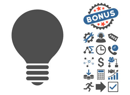 electric bulb: Electric Bulb pictograph with bonus clip art. Vector illustration style is flat iconic bicolor symbols, cobalt and gray colors, white background.