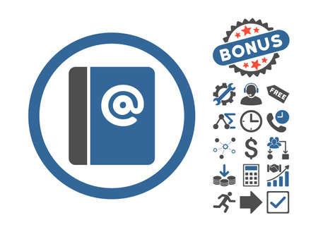 addresses: Emails pictograph with bonus symbols. Vector illustration style is flat iconic bicolor symbols, cobalt and gray colors, white background.