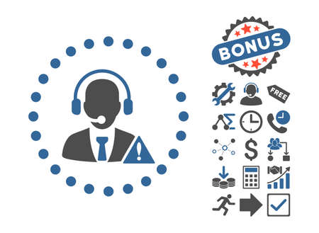 Emergency Service pictograph with bonus pictograph collection. Vector illustration style is flat iconic bicolor symbols, cobalt and gray colors, white background.