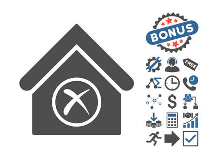 erase: Erase Building pictograph with bonus icon set. Vector illustration style is flat iconic bicolor symbols, cobalt and gray colors, white background.
