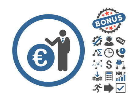 economist: Euro Economist icon with bonus pictures. Vector illustration style is flat iconic bicolor symbols, cobalt and gray colors, white background.