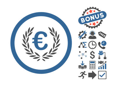 cognizance: Euro Glory icon with bonus clip art. Vector illustration style is flat iconic bicolor symbols, cobalt and gray colors, white background.