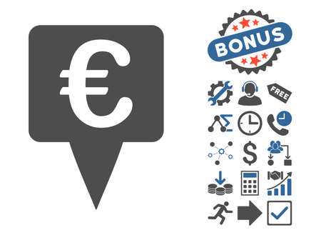 Euro Map Pointer icon with bonus elements. Vector illustration style is flat iconic bicolor symbols, cobalt and gray colors, white background. Illustration