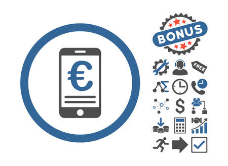 bank account: Euro Mobile Bank Account icon with bonus design elements. Vector illustration style is flat iconic bicolor symbols, cobalt and gray colors, white background.