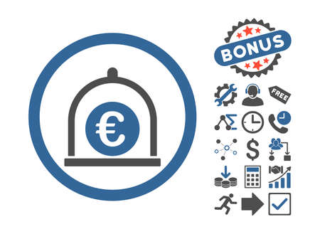 cobalt: Euro Standard pictograph with bonus pictures. Vector illustration style is flat iconic bicolor symbols, cobalt and gray colors, white background. Illustration