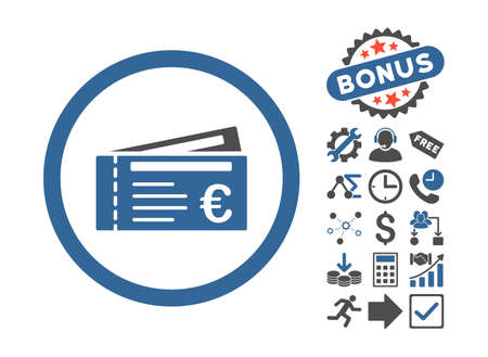 cobalt: Euro Tickets icon with bonus symbols. Vector illustration style is flat iconic bicolor symbols, cobalt and gray colors, white background.