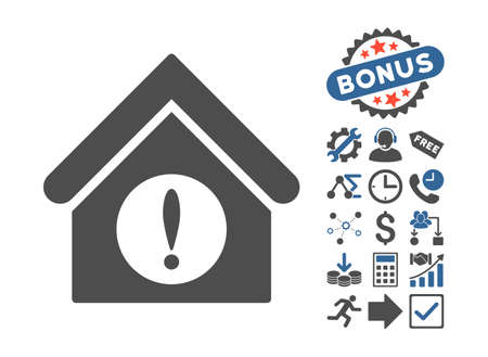 cobalt: Exclamation Building icon with bonus elements. Vector illustration style is flat iconic bicolor symbols, cobalt and gray colors, white background.