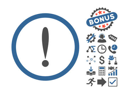 cobalt: Exclamation Sign icon with bonus pictures. Vector illustration style is flat iconic bicolor symbols, cobalt and gray colors, white background. Illustration