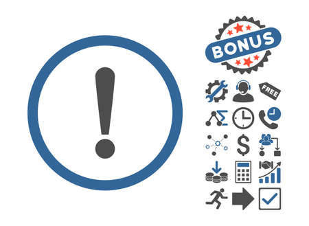 exclamation sign icon: Exclamation Sign icon with bonus symbols. Vector illustration style is flat iconic bicolor symbols, cobalt and gray colors, white background.