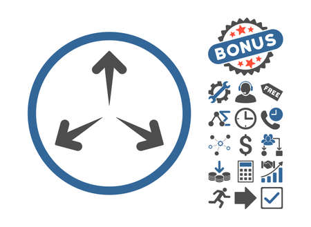 expand: Expand Arrows icon with bonus symbols. Vector illustration style is flat iconic bicolor symbols, cobalt and gray colors, white background. Illustration