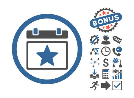 cobalt: Favourites Day pictograph with bonus images. Vector illustration style is flat iconic bicolor symbols, cobalt and gray colors, white background.
