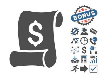 indent: Financial Receipt Roll pictograph with bonus elements. Vector illustration style is flat iconic bicolor symbols, cobalt and gray colors, white background.
