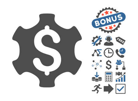 cobalt: Financial Settings icon with bonus pictogram. Vector illustration style is flat iconic bicolor symbols, cobalt and gray colors, white background.