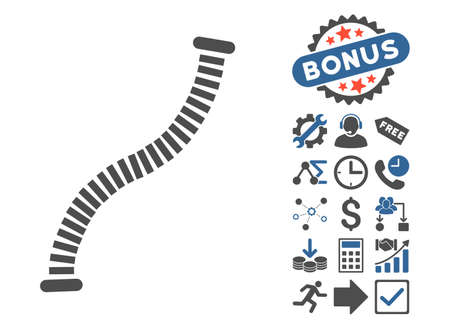 flexible: Flexible Pipe icon with bonus pictograph collection. Vector illustration style is flat iconic bicolor symbols, cobalt and gray colors, white background.