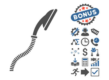 flexible: Flexible Shower pictograph with bonus images. Vector illustration style is flat iconic bicolor symbols, cobalt and gray colors, white background.