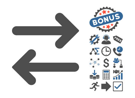 Flip Horizontal pictograph with bonus images. Vector illustration style is flat iconic bicolor symbols, cobalt and gray colors, white background.