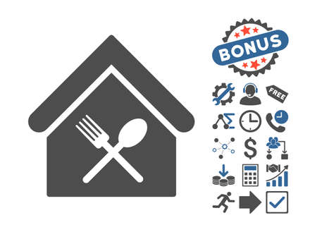 food court: Food Court icon with bonus symbols. Vector illustration style is flat iconic bicolor symbols, cobalt and gray colors, white background.