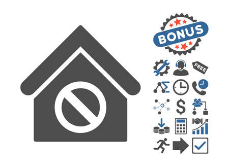 cobalt: Forbidden Building icon with bonus elements. Vector illustration style is flat iconic bicolor symbols, cobalt and gray colors, white background. Illustration