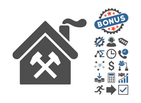 forge: Forge Building icon with bonus design elements. Vector illustration style is flat iconic bicolor symbols, cobalt and gray colors, white background.
