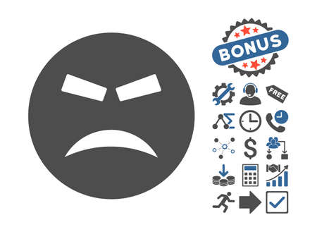 annoying: Furious icon with bonus clip art. Vector illustration style is flat iconic bicolor symbols, cobalt and gray colors, white background.