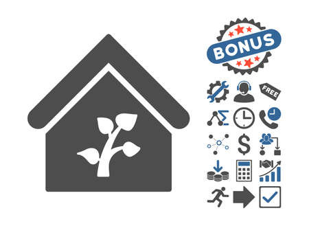 cobalt: Greenhouse Building pictograph with bonus symbols. Vector illustration style is flat iconic bicolor symbols, cobalt and gray colors, white background. Illustration