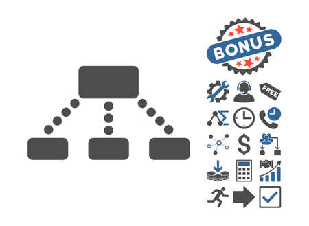 hierarchy: Hierarchy pictograph with bonus clip art. Vector illustration style is flat iconic bicolor symbols, cobalt and gray colors, white background. Illustration