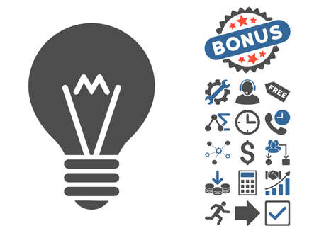 hint: Hint Bulb pictograph with bonus images. Vector illustration style is flat iconic bicolor symbols, cobalt and gray colors, white background. Illustration