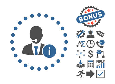 help desk: Help Desk icon with bonus clip art. Vector illustration style is flat iconic bicolor symbols, cobalt and gray colors, white background.
