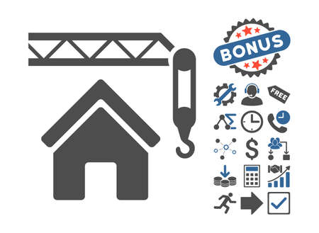 cobalt: Home Construction icon with bonus symbols. Vector illustration style is flat iconic bicolor symbols, cobalt and gray colors, white background. Illustration