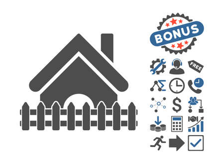 Home Fence pictograph with bonus clip art. Vector illustration style is flat iconic bicolor symbols, cobalt and gray colors, white background.