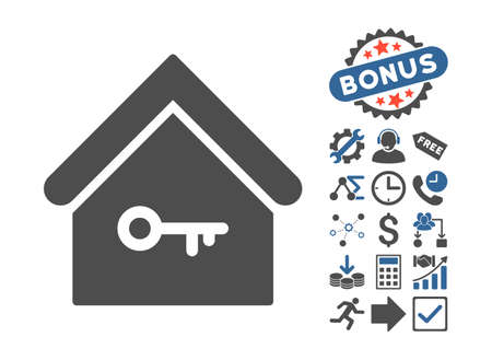 secured property: Home Key icon with bonus pictograph collection. Vector illustration style is flat iconic bicolor symbols, cobalt and gray colors, white background.