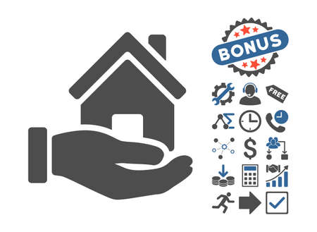 cobalt: Home Offer pictograph with bonus symbols. Vector illustration style is flat iconic bicolor symbols, cobalt and gray colors, white background.