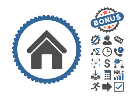 Home icon with bonus images. Vector illustration style is flat iconic bicolor symbols, cobalt and gray colors, white background.