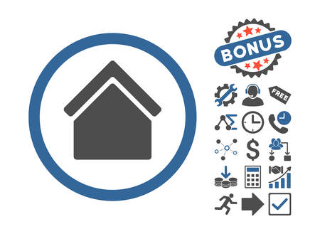 homeland: Home icon with bonus elements. Vector illustration style is flat iconic bicolor symbols, cobalt and gray colors, white background. Illustration