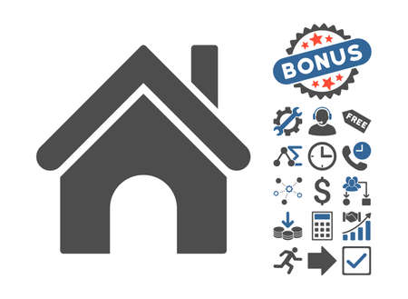 homeland: Home pictograph with bonus design elements. Vector illustration style is flat iconic bicolor symbols, cobalt and gray colors, white background.