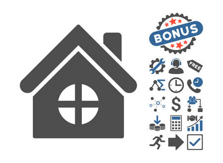 habitation: House Building pictograph with bonus elements. Vector illustration style is flat iconic bicolor symbols, cobalt and gray colors, white background.