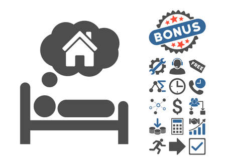 House Dreams pictograph with bonus design elements. Vector illustration style is flat iconic bicolor symbols, cobalt and gray colors, white background.