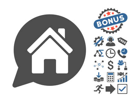cobalt: House Mention pictograph with bonus images. Vector illustration style is flat iconic bicolor symbols, cobalt and gray colors, white background.