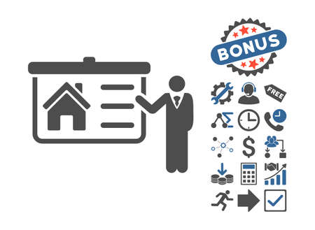 presentaion: House Presentation icon with bonus clip art. Vector illustration style is flat iconic bicolor symbols, cobalt and gray colors, white background.