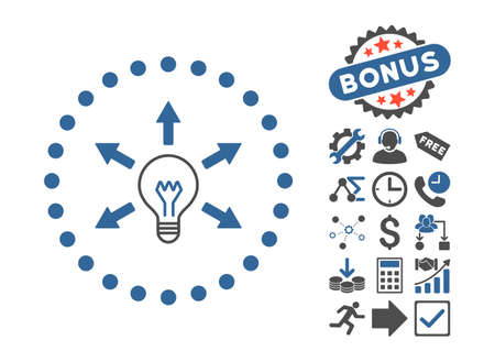 gray bulb: Idea Bulb pictograph with bonus pictogram. Vector illustration style is flat iconic bicolor symbols, cobalt and gray colors, white background.