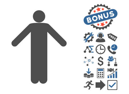 ignorance: Ignorance Pose icon with bonus pictograph collection. Vector illustration style is flat iconic bicolor symbols, cobalt and gray colors, white background. Illustration