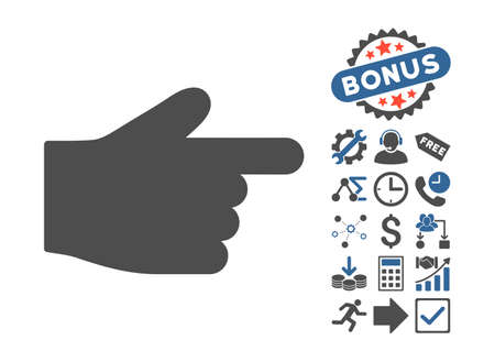 redirect: Index Finger pictograph with bonus pictogram. Vector illustration style is flat iconic bicolor symbols, cobalt and gray colors, white background. Illustration