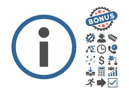 pictograph: Info icon with bonus pictograph collection. Vector illustration style is flat iconic bicolor symbols, cobalt and gray colors, white background.