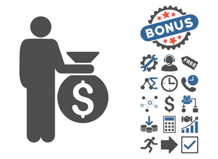 investor: Investor icon with bonus symbols. Vector illustration style is flat iconic bicolor symbols, cobalt and gray colors, white background.