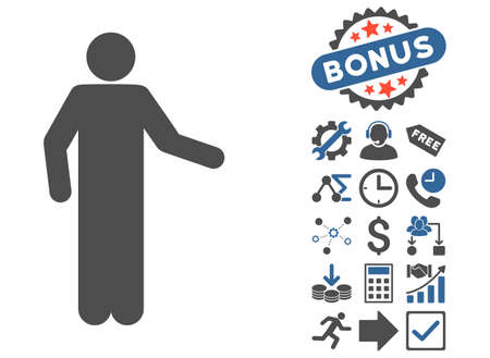 persona: Invitation Pose icon with bonus icon set. Vector illustration style is flat iconic bicolor symbols, cobalt and gray colors, white background.